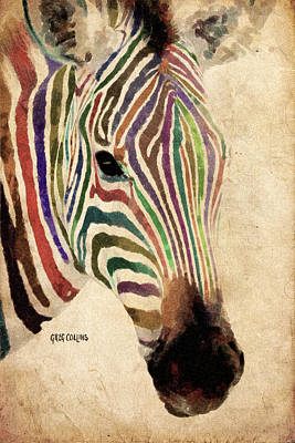Blue Painting - Rainbow Zebra by Greg Collins