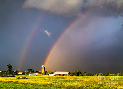 Maine Farms Photograph - Rainbows And Silos by Benjamin Williamson