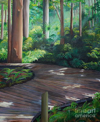 Rainforest Drawing - Rainforest Boardwalk by Merrin Jeff