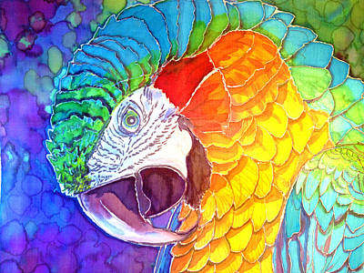 Blue And Gold Macaw Painting - Rainforest Regalia by Kelly     ZumBerge