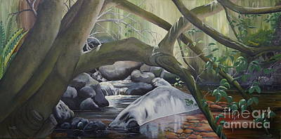 Rainforest Drawing - Rainforest Stream by Merrin Jeff