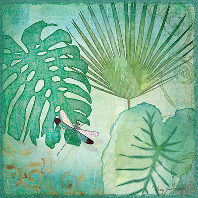 Rainforest Tropical - Philodendron Elephant Ear And Palm Leaves W Botanical Dragonfly 2 Print by Audrey Jeanne Roberts