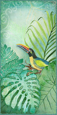 Rainforest Tropical - Tropical Toucan W Philodendron Elephant Ear And Palm Leaves Print by Audrey Jeanne Roberts