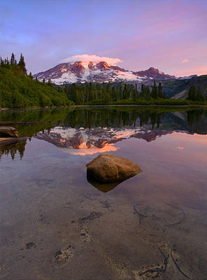 Benches Photograph - Rainier Dawn Breaking by Mike  Dawson