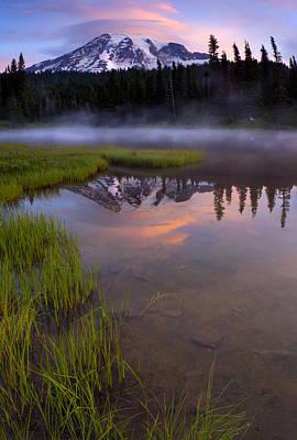Rainier Sunrise Cap Original by Mike  Dawson