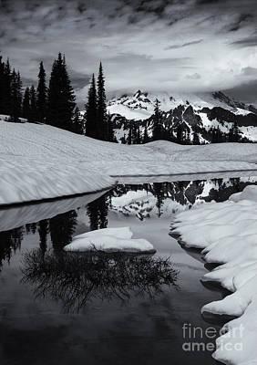 Rainier Winter Reflections Print by Mike Dawson