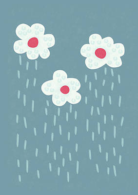 Blooming Digital Art - Raining Flowery Clouds by Boriana Giormova