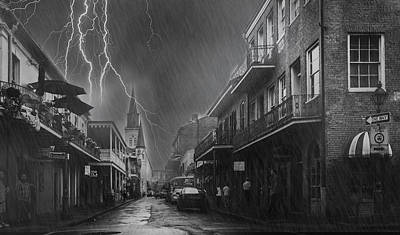 Rains In Bourbon Street Print by Sunman