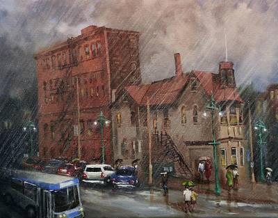 Rainy Night Painting - Rainy Afternoon Milwaukee by Tom Shropshire