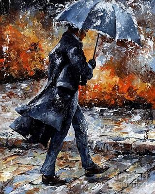 Black People Mixed Media - Rainy Day/07 - Walking In The Rain by Emerico Imre Toth