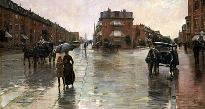 Rainy Day, Boston Print by Childe Hassam