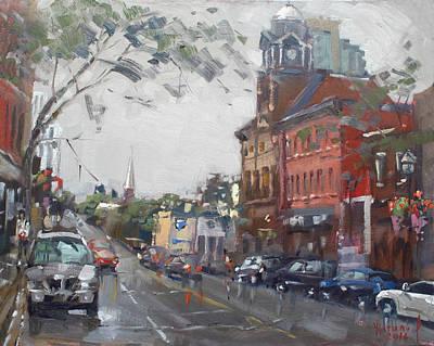 Rainy Day In Downtown Brampton On Print by Ylli Haruni