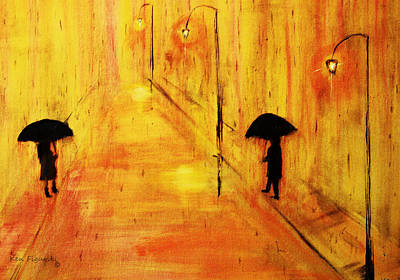 Fog Painting - Rainy Day In Gold by Ken Figurski