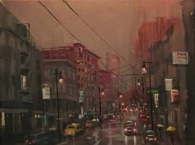 City At Night Painting - Rainy Day In The City by Tom Shropshire