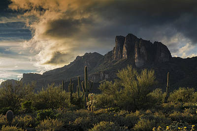Rainy Day In The Superstitions  Print by Saija Lehtonen