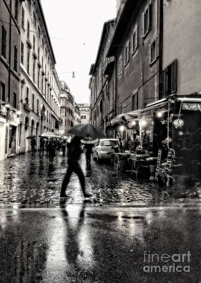 rainy night in Rome Print by HD Connelly