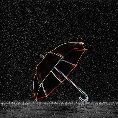 Umbrellas Digital Art - Rainy Night  by Art Spectrum