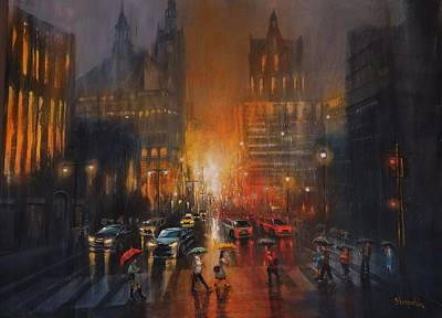 Rainy Night Painting - Rainy Night by Tom Shropshire