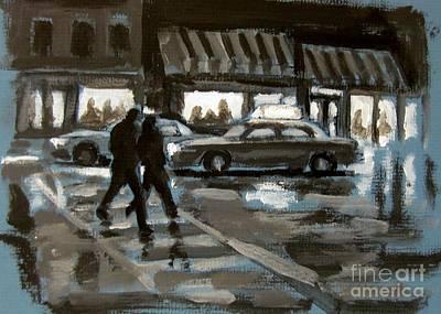 Rainy Nights Downtown Print by John Malone