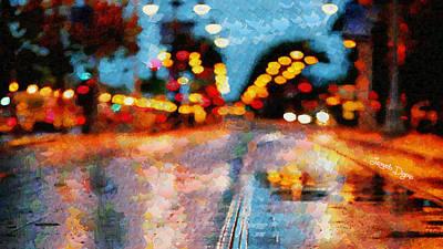 Lamp Painting - Rainy Street - Pa by Leonardo Digenio