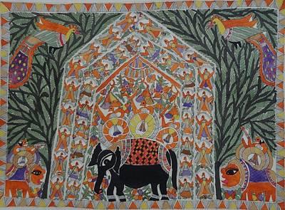 Raja Painting - Raja Salhesh In Gahbar Mithila Painting From Emithilahaat by Indu Devi