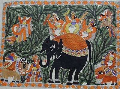 Raja Painting - Raja Salhesh On Elephant Mithila Painting From Emithilahaat by Indu Devi