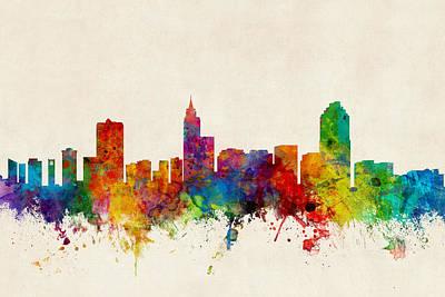 Cityscape Digital Art - Raleigh North Carolina Skyline by Michael Tompsett