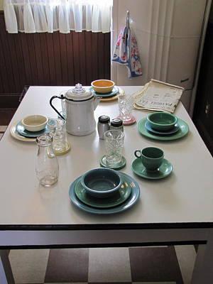 Fiestaware Photograph - Ralphie's Breakfast Table by Kelly Mezzapelle