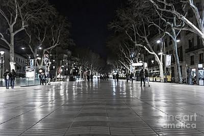 Barcelona Digital Art - Rambla At Night by Svetlana Sewell