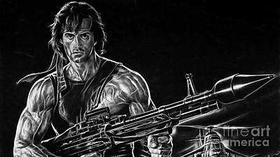 Stallone Mixed Media - Rambo Sylvester Stallone by Marvin Blaine