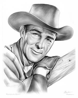 Westerns Drawing - Randolph Scott by Greg Joens