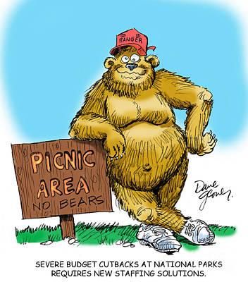 National Park Drawing - Ranger Bear by David Lloyd Glover