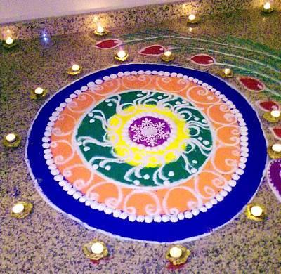 Rangoli Photograph - Rangoli- Festive Colours by Sunaina Serna Ahluwalia