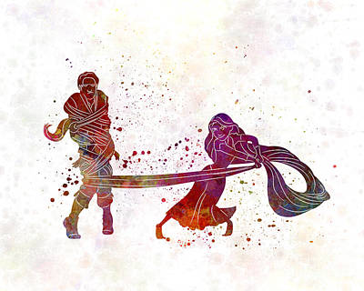 Animation Painting - Rapunzel And Partner 02 In Watercolor by Pablo Romero