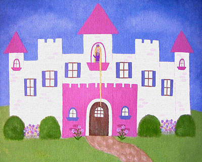 Girls Painting - Rapunzel's Castle by Samantha Shirley