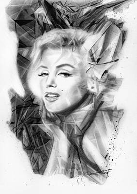 Elvis Presley Drawing Drawing - Rare Gem - Marilyn Monroe by Michael George Escolano