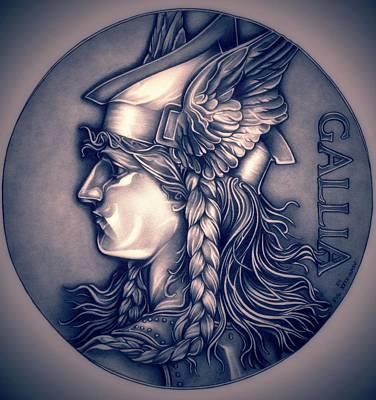 Warrior Goddess Drawing - Rasberry Goddess Of Gaul by Fred Larucci