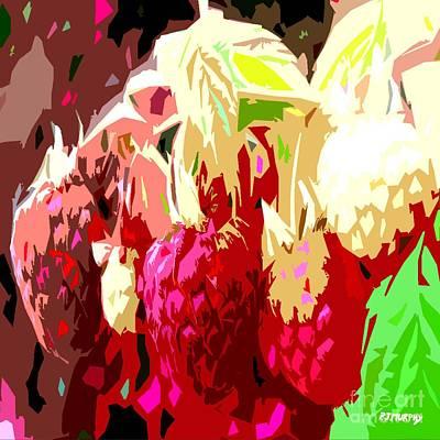 Raspberry Mixed Media - Raspberry Bush by Patrick J Murphy
