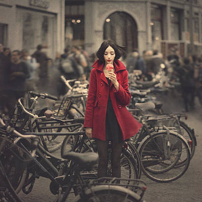 Bike Photograph - raspberry sorbet in Amsterdam by Anka Zhuravleva