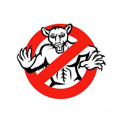 Rat Busted Stop Sign Retro Print by Aloysius Patrimonio