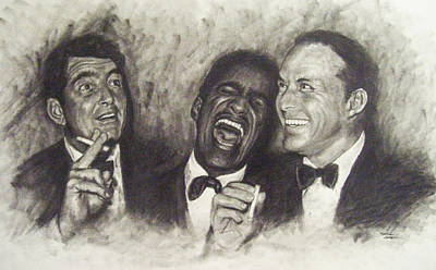 Frank Sinatra Drawing - Rat Pack by Cynthia Campbell