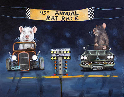 Hot Rod Painting - Rat Race by Leah Saulnier The Painting Maniac