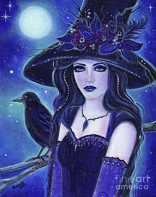 Witch Painting - Raven Halloween Witch by Renee Lavoie