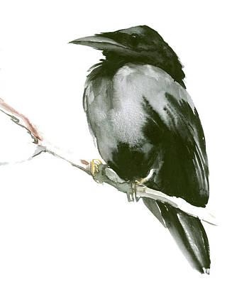 Raven Drawing - Raven by Suren Nersisyan