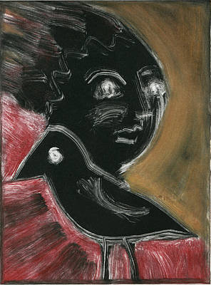 Printmaking Mixed Media - Raven Woman by Sheryl Karas