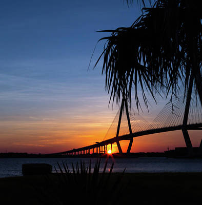 Sunrise Photograph - Ravenel Bridge Silhouette by Todd Wise