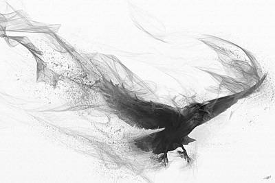 Blackbird Digital Art - Raven's Flight by Steve Goad
