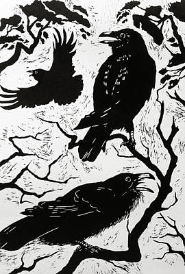 Raven Painting - Ravens by Nat Morley