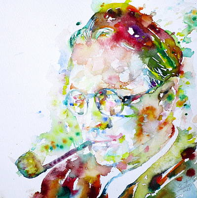 Raymond Painting - Raymond Chandler - Watercolor Portrait by Fabrizio Cassetta