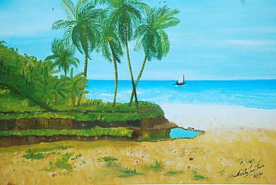 Jacmel Painting - Raymond Les Bains Jacmel Haiti by Nicole Jean-Louis